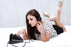 Free Brunette Talking On The Retro Phone Royalty Free Stock Photography - 26117457
