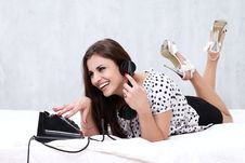 Free Brunette Talking On The Retro Phone Royalty Free Stock Photography - 26117477