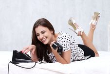 Free Brunette Talking On The Retro Phone Stock Photos - 26117493