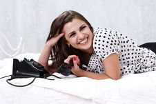 Free Brunette Talking On The Retro Phone Stock Images - 26117524