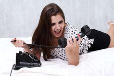 Free Brunette Talking On The Retro Phone Royalty Free Stock Image - 26117546