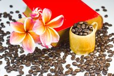 Coffee Beans With Red Flowers