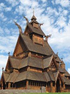 Norwegian Stave Church Close-up Royalty Free Stock Photos