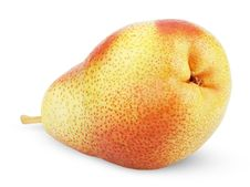 Ripe Red Yellow Pear Fruit On White Royalty Free Stock Photography