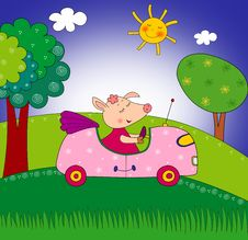 Free Piggy On The Car Stock Image - 26129371