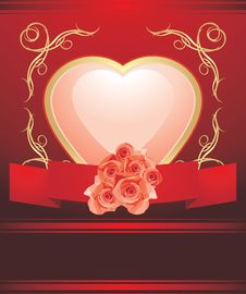 Free Pink Heart With Blooming Roses. Valentines Card Stock Photo - 26130370