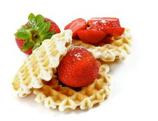 Free Waffles And Strawberries Stock Photo - 26131380