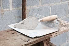Trowel And Plastic Construction Tools Stock Photography