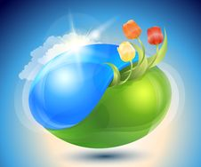 Spring. Eco-icon With Nature Yin-yang Stock Photography