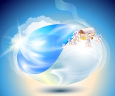 Free Winter. Eco-icon With Nature Yin-yang Stock Photo - 26132630