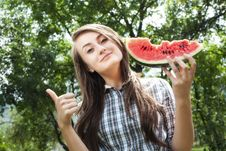 Woman And Watermelon Stock Photo