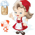Free Cute Blond Young Beergirl In Red Dirndl Royalty Free Stock Photography - 26141747