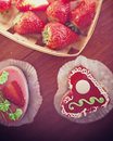 Free Strawberry Cake In The Shape Of A Heart Royalty Free Stock Images - 26147789