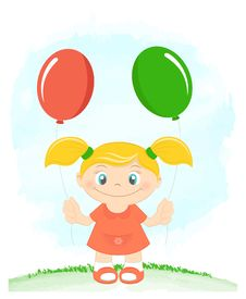 Free Cute Little Girl With Toy Balloons Royalty Free Stock Photo - 26142145