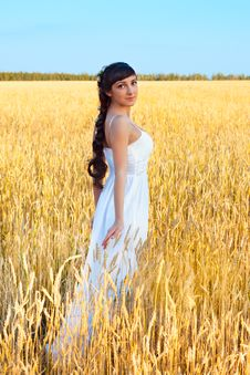 Woman In White Dress In Field With Wheat Stock Image
