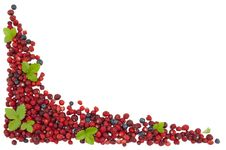 Free Strawberries And Blueberries With Green Leaves Stock Images - 26144144