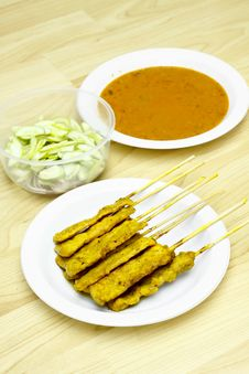Pork Satay Thai Food Royalty Free Stock Photo