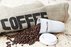 Free Black Coffee To Go On Jute Background Royalty Free Stock Images - 26145959
