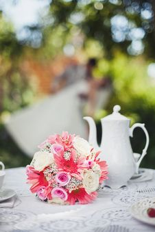 Bridal Bouquet To The Tea Table Stock Images