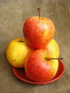 Free Four Nice Apples On The Plate Royalty Free Stock Image - 26156156