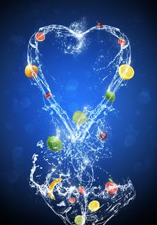 Free Fruit In Water Splash Blue Background Royalty Free Stock Photos - 26156588