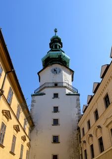 Free Michal Tower. Bratislava, Historic City Gate. Royalty Free Stock Photography - 26156877