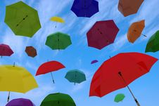 Free Flying Of Multicoloured Umbrellas Royalty Free Stock Photos - 26160648