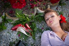 Free Sexy Young Woman Lying On The Ground Stock Photos - 26161703