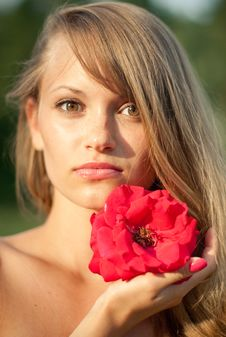 Free Young Sexy Girl With Red Flower 2 Royalty Free Stock Photos - 26161938