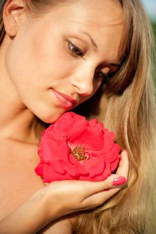 Free Young Sexy Girl With Red Flower 3 Stock Photography - 26161942