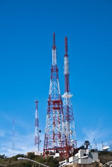 Modern Communication Towers Royalty Free Stock Photos