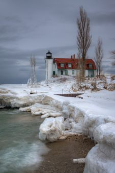 Free Wintery Point Betsie Stock Photography - 26165572