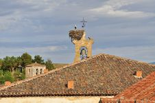 Free Stork Nest On A Bell Tower. Sepulveda, Spain Royalty Free Stock Photography - 26182537