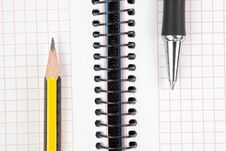 Free Notebook With Pen And Pencil. Royalty Free Stock Images - 26183569