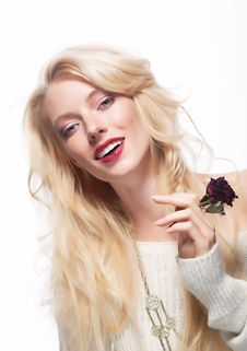 Free Pretty Female Face. Blond Long Hair. Red Flower Royalty Free Stock Photography - 26188477