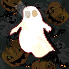Halloween Card With Ghost Royalty Free Stock Photos