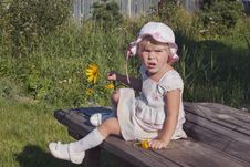 Portrait Of Girl &x28;2  Age&x29;  With Flower Royalty Free Stock Photography