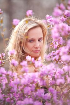 Portrait Of A Girl With Flowers Royalty Free Stock Images