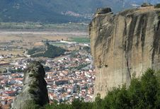 Panoramic View From The Meteora Rocks In Greece Royalty Free Stock Image