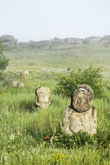 Free Stone Idol In The Steppe Royalty Free Stock Photo - 26198055