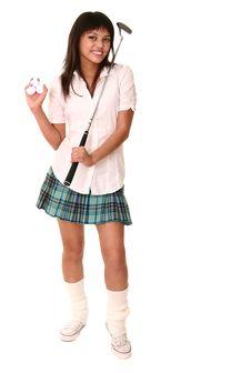 Free Beautiful Brunette Holding Golf Stock Photography - 2629812