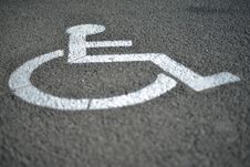 Free Signage For Handicap On The Road Stock Photography - 26203262