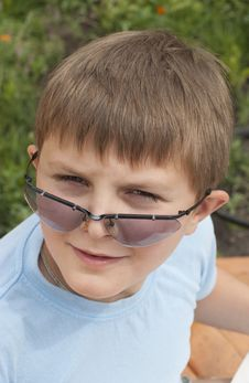 Portrait Of Boy &x28;10 Years&x29; Lh Sunglasses Stock Images