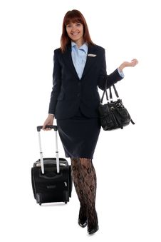 Free Flight Attendant Going To Work Stock Photo - 26213730
