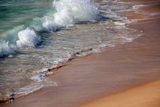 Free Waves  Retreating On Sandy Beach Royalty Free Stock Photos - 26215768
