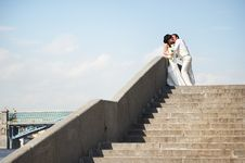 Romantic Bride And Groom At Wedding Walk Royalty Free Stock Images