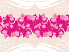 Free Ornamental Border With Blooming Pink Flowers Royalty Free Stock Image - 26235576