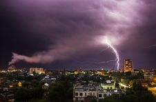 Free Lightning In The City Stock Photography - 26235582