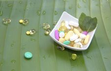Assorted Pills On Leaf Background Stock Photography