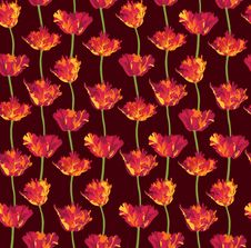 Free Seamless Background With Red Flower Stock Images - 26238434